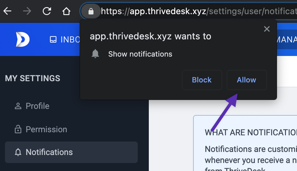 Allow browser notification